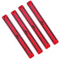 SiliSlick Magnetic Knife Rack Wall Strip | Magnet Tool Holder | Magnetic Bar for Kitchen, Garage, Bathroom, Art Supplies or Home Organizer (4 Red)