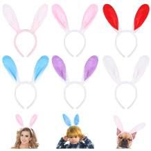 Frcolor Plush Bunny Ear Headbands, Cute Bunny Rabbit Ear Hairbands Easter Headbands for Women Girls Easter Party Decoration, 6PCs