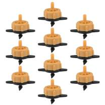 uxcell Pressure Compensating Dripper 0.5 GPH 2L/H Emitter for Garden Lawn Drip Irrigation with Barbed Hose Connector, Plastic Black Orange 50pcs