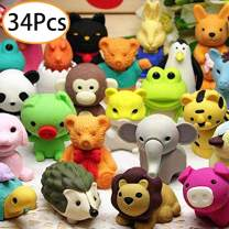 URSKYTOUS 34Pcs Pencil Erasers,Mini Kids Animal Erasers Bulk Cute Non-Toxic Removable Assembly Puzzle Erasers for Party Favors,ClassroomStudents Prizes,Carnival Gifts and School Supplies Gift