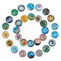 PH PandaHall 60PCS 30 Styles 12mm Round Flatback Glass Dome Cabochons Gems Jewelry Making Handcrafts Scrapbooking (Kaleidoscope Pattern)