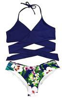 Vetinee Womens Mesh Scoop Neck Two Pieces Bikini Set Padded Swimsuit Swimwear