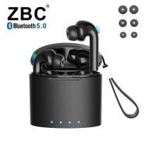 Wireless Bluetooth 5.0 Earbuds with Charging Case IPX5 Waterproof Earphones TWS Stereo Headphones in-Ear Built-in Mic Headset Premium Sound with Deep Bass for Sport Noise Cancelling Long Playtime