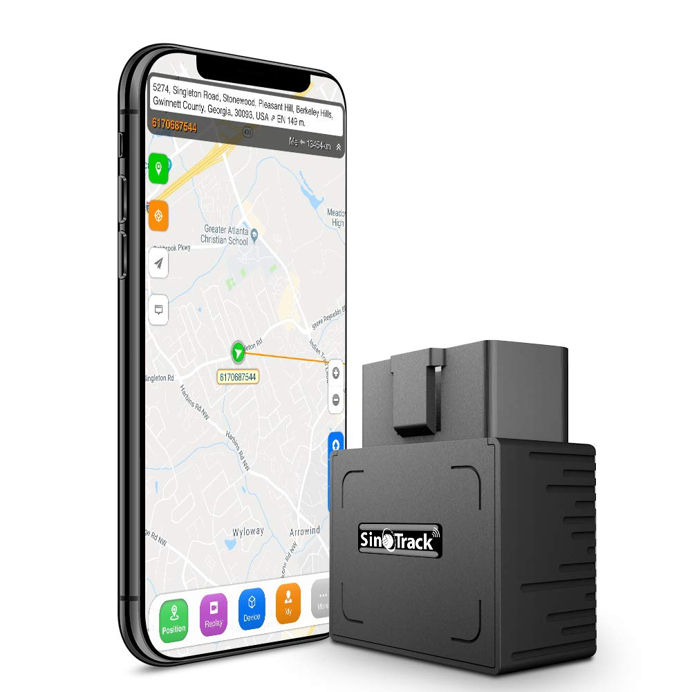 SinoTrack GPS Tracker for Vehicles, Real-Time OBD Car GPS Tracking Device Locator, Mini OBD II Vehicle Tracker with Alert System for Car, Taxi and Truck, Support for Android and iOS Platform Lifetime