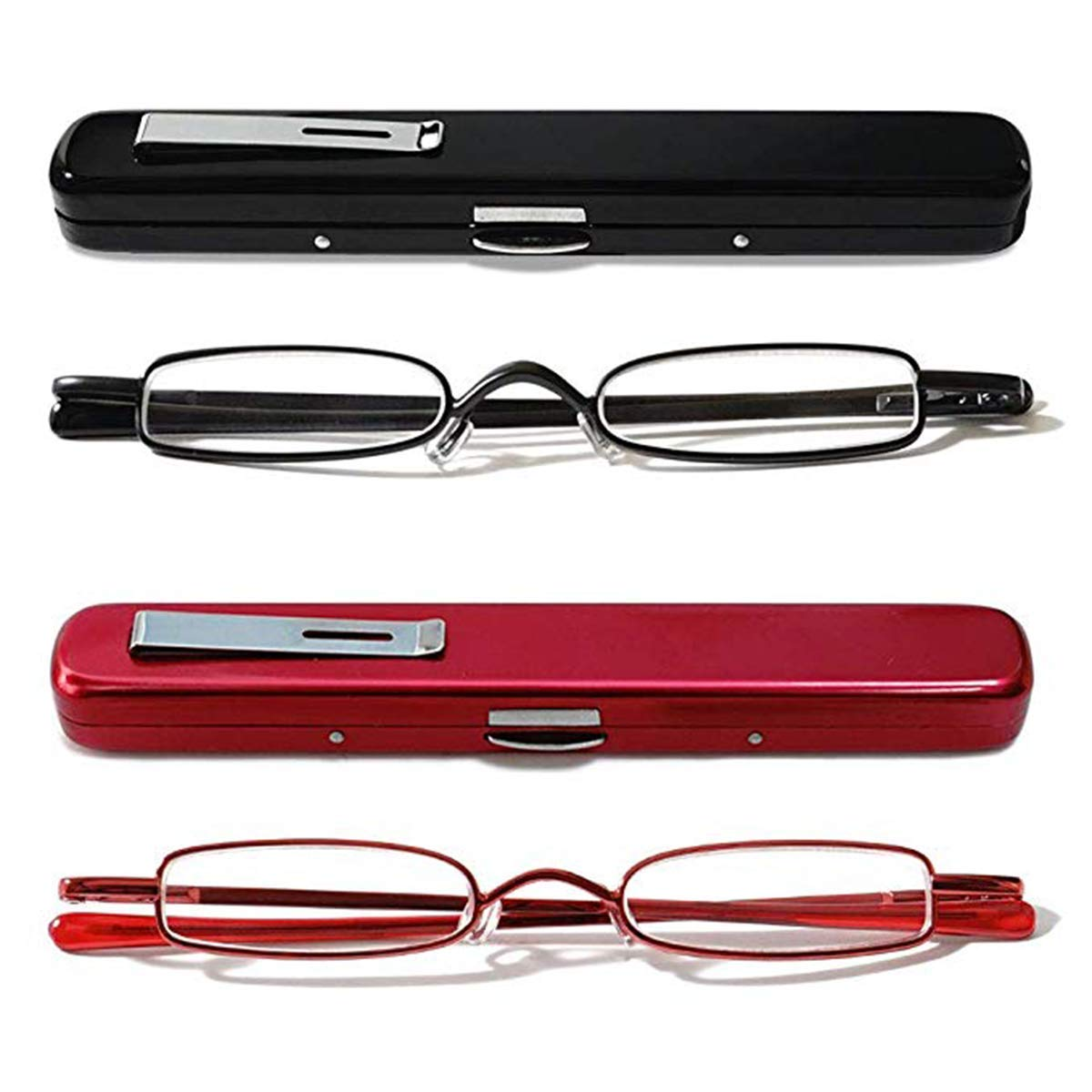KoKoBin Mini Reading Glasses - 2 Pairs Metal Frame Readers with Spring Hinge Portable Pen Clip for Men Women,Black+red 2.5 Strength
