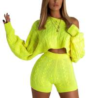Cosygal Women's Casual Knit 2 Piece Outfit Long Sleeve Sweater Pullover Crop Top and Shorts Pants Jumpsuit Skirts Dress Set