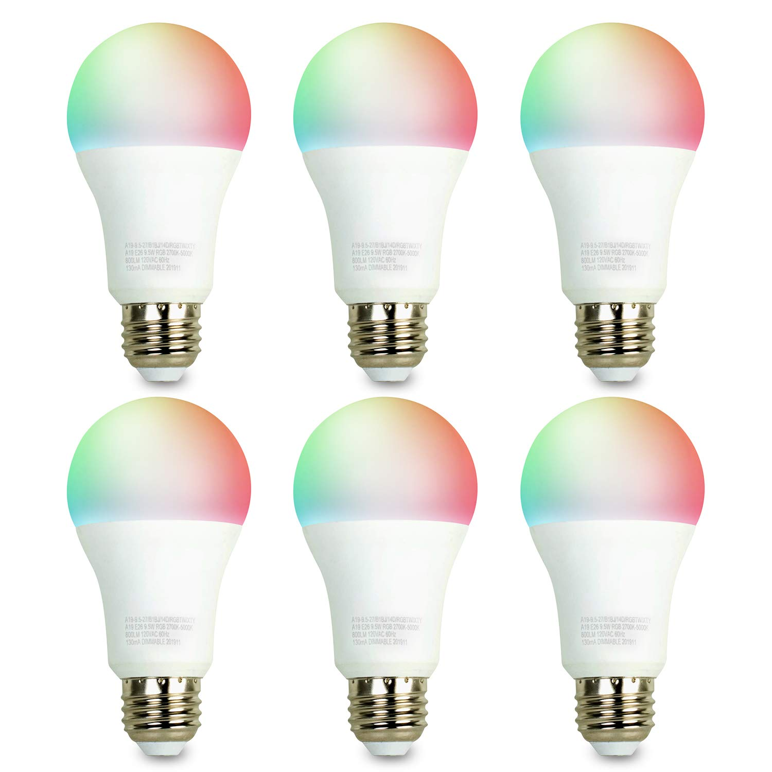 iBRIGHT Smart WiFi LED Light Bulb, 9.5W (60W Equivalent) 800 lumens A19 E26 Dimmable Multicolor 120VAC 2700K-5000K RGB, No Hub Required (Works with Amazon Alexa & Google Assistant) 6 Pack