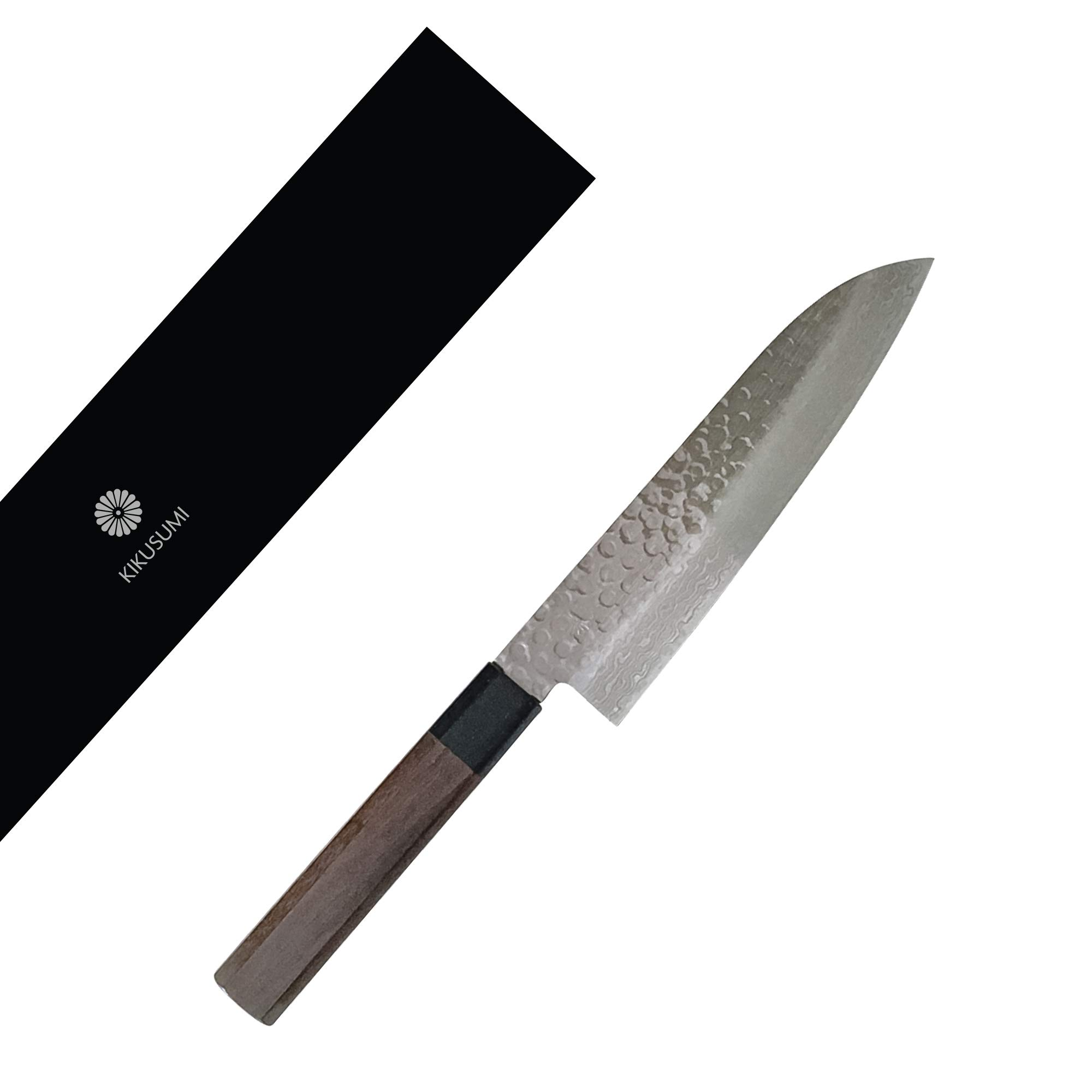 "Kikusumi KATURA 7"" Santoku Knife 45 Layer Damascus Steel AUS10 + Octagonal Premium Wood Handle - Made in Japan (Rosewood, 7"" / 18 cm)"