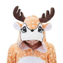 ABENCA Kids Deer Onesie Pajamas Christmas Halloween Animal Cosplay Sleepwear Costume
