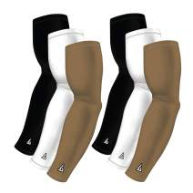 B-Driven Sports Pro-Fit Athletic Compression Arm Sleeves 6-Sleeve Variety Pack, 2 White, 2 Black, and 2 Primary Color Sleeves, Choose from 40+ Colors