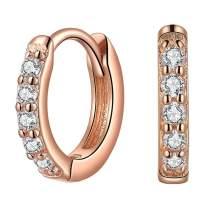Small Huggie Earrings Sterling Silver Cubic Zirconia Hoop Earrings for Cartilage Gift for Women Girls