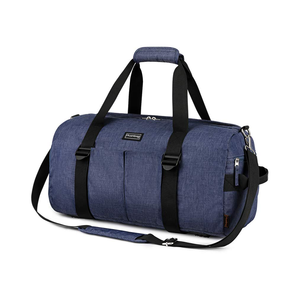 Plambag Sports Gym Bag with Wet Pocket & Shoe Compartment, Water Repellent Travel Duffel Tote Bag for Men and Women(Blue)
