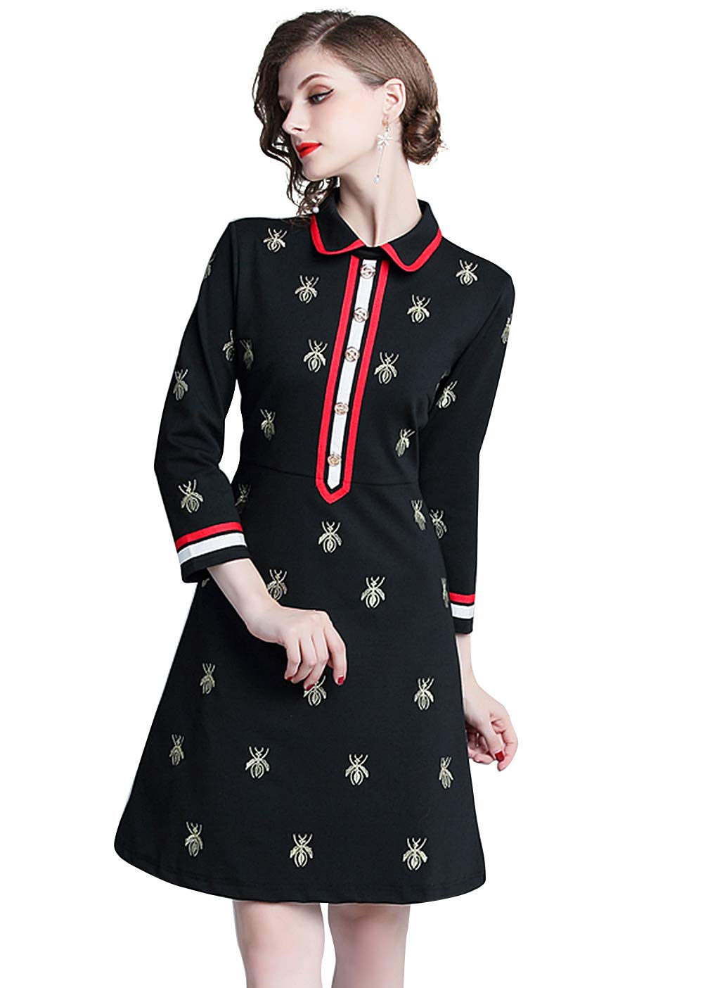 Womens Premium Embroidered Collared Neck/V Neck Slim Bodycon Work Business Dress