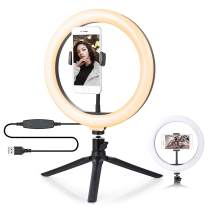 Ring Light with Tripod Stand - 10'' Dimmable Desk Makeup Selfie Ring Light with 3 Light Modes & 10 Brightness Level for Photography/Shooting/Live Streaming/Video, Compatible with iPhone Android