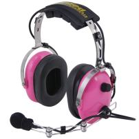 Rugged Radios H22-PINK Pink Carbon Fiber Over The Head Two-Way Radio Headset with Dynamic Noise Cancelling Microphone, Push to Talk, and 3.5mm Input Jack for Music & MP3 Players