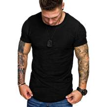 Mens Fashion Athletic Shirts Casual Solid Color T-Shirt Slim Fit Sport Tops