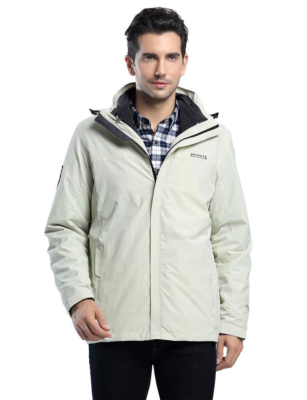 Camii Mia Men's 3 in 1 Rain Ski Jacket Waterproof Windbreaker Mountain Winter Hooded Coat
