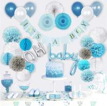 VIDAL CRAFTS Baby Shower Decorations for Boy, Its a Boy Banner, Complete Party Decor Kit, Paper Fans, OH BABY Foil and Latex Balloons, Tissue Paper Pom Poms, Honeycomb Balls, Party Supplies for Boys