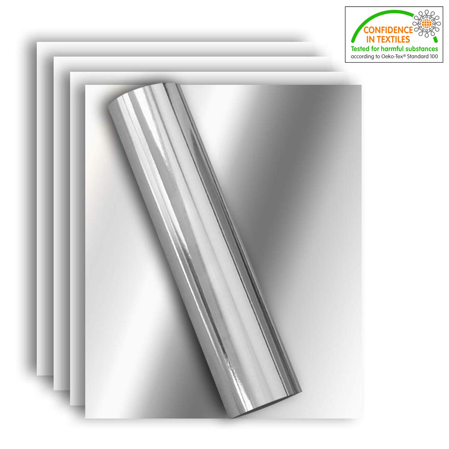 Stretchable Metallic Heat Transfer Vinyl Silver Foil, Iron On HTV Bundle for DIY Your Own Clothes, 12x10 Inch, Pack of 5, Eco-Friendly