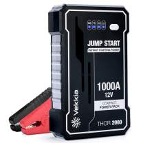 Vekkia Portable Lithium Car Jump Starter Power Pack Battery Booster, 1000A Peak Start Dead Batteries of 7.0L Gas Engine. 4X-Efficiency-Output Tech, 40% More Powerful. Smart Clamp, Case & Cable Incl.