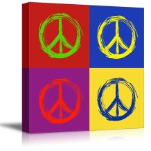 """wall26 - Canvas Wall Art - Multi-Color Pop Art with Anti-War Sign - Giclee Print Gallery Wrap Modern Home Decor Ready to Hang - 24"""" x 24"""""""