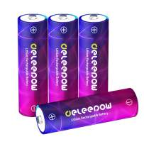 Deleepow AA Rechargeable Batteries, 1.5V High Capacity 3200mWh Lithium Li-ion Rechargeable AA Batteries,1500 Cycles Double A Battery,4-Pack(No Include Charger)