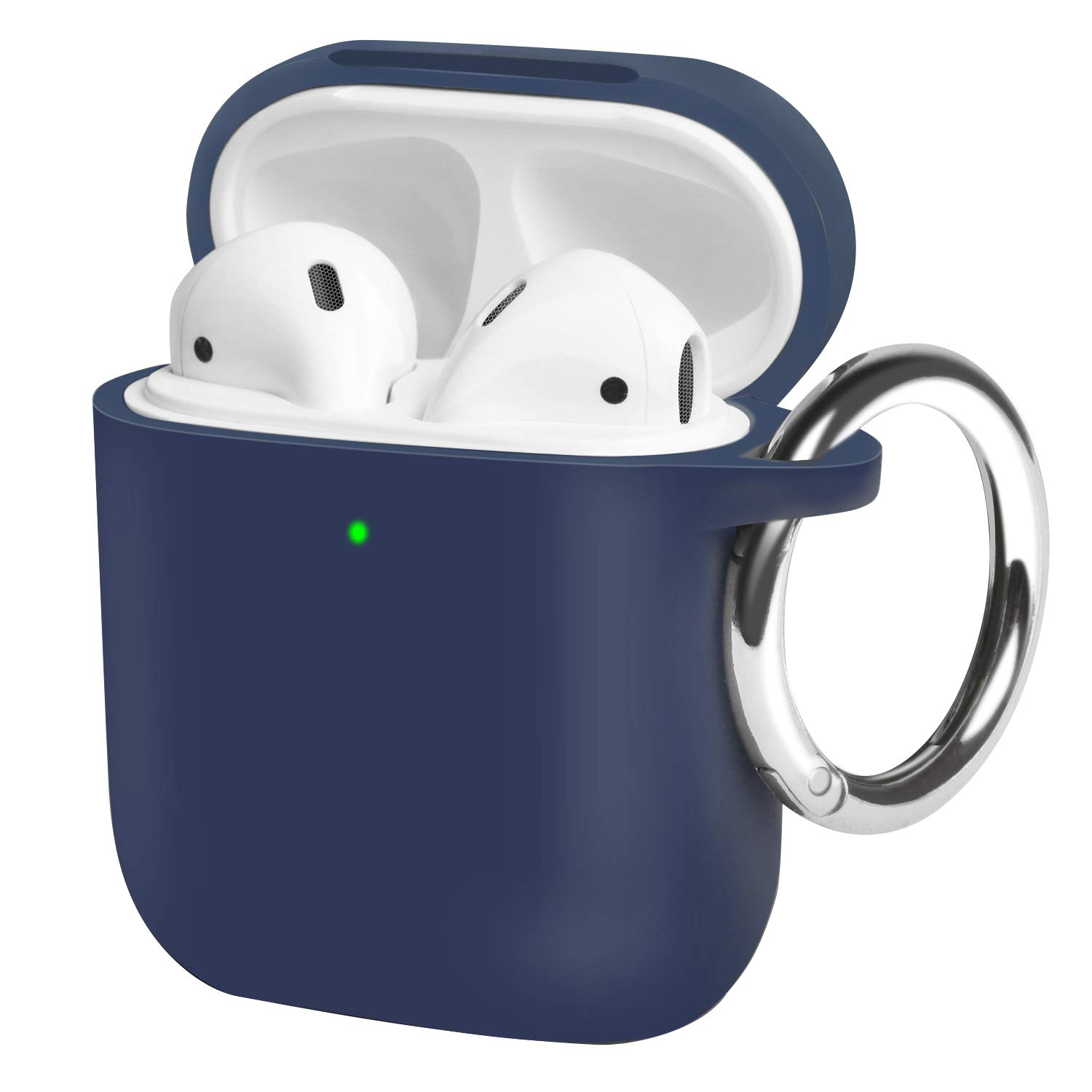 OTOFLY AirPods Case, with Detachable Round Carabiner Full Body Protection Silicone Cover Compatible with AirPods 2&1 [Front LED Visible/Supports Wireless Charging] (Midnight Blue)
