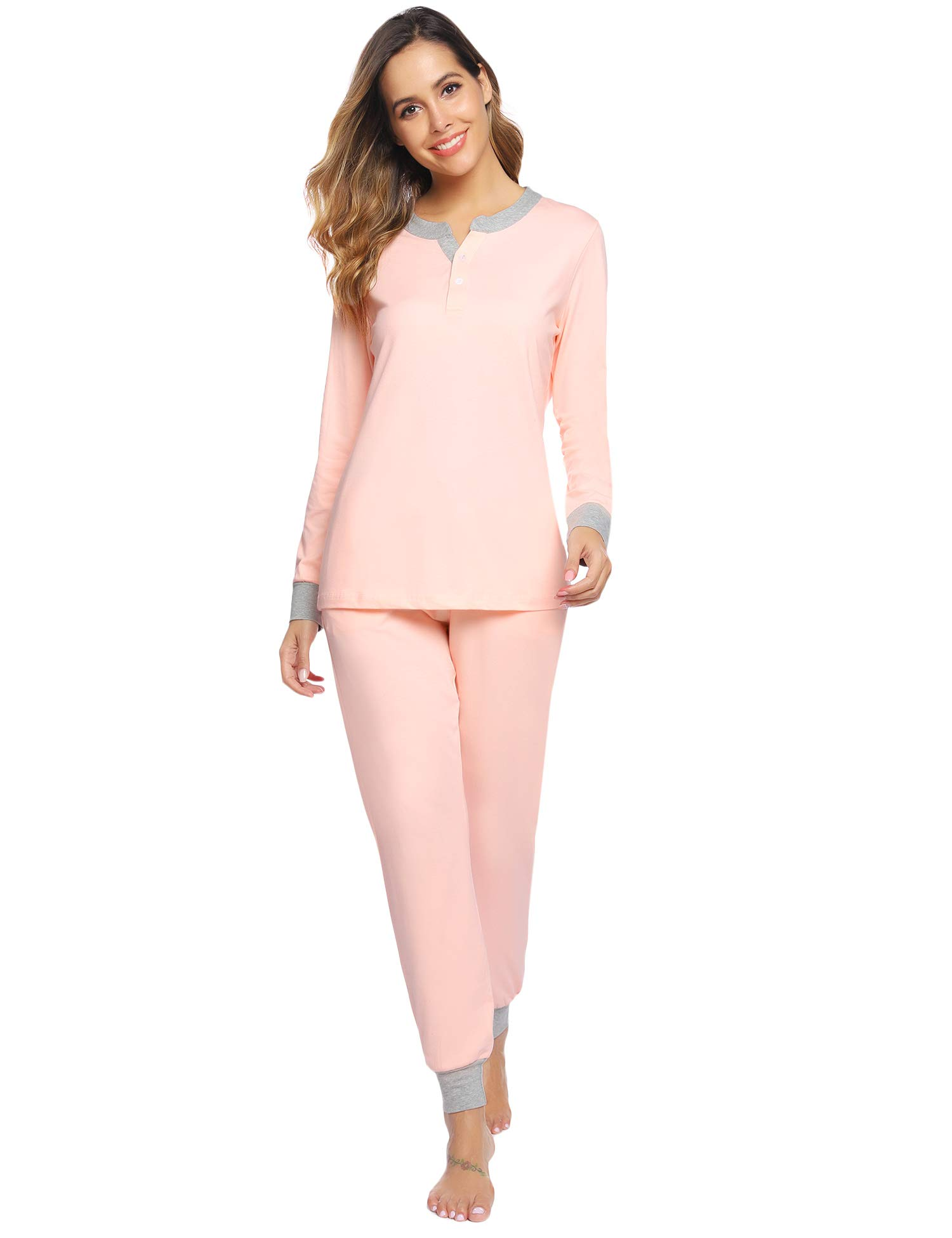 Aibrou Womens Cotton Pajama Set Long Sleeve Sleepwear Lounge wear Pjs Set