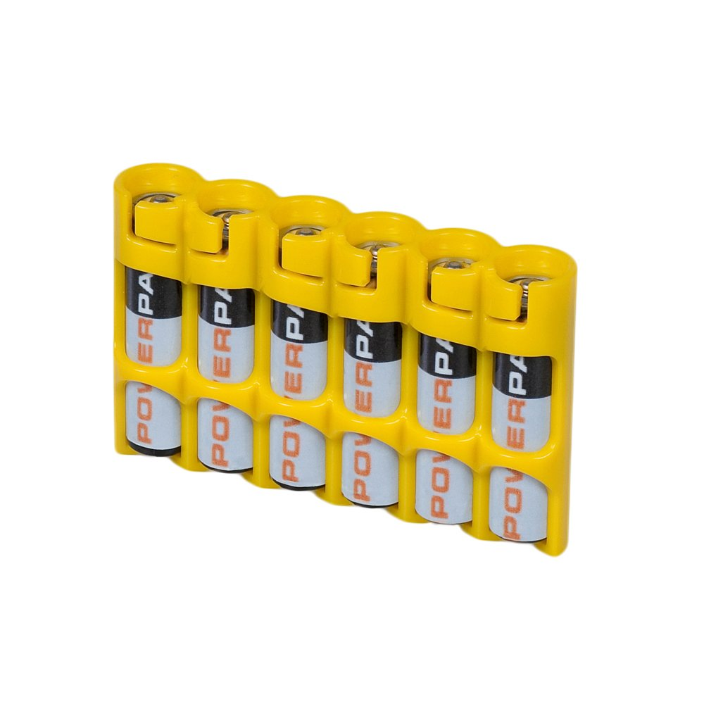 Storacell by Powerpax SlimLine AAA Battery Caddy, Yellow, Holds 6 Batteries