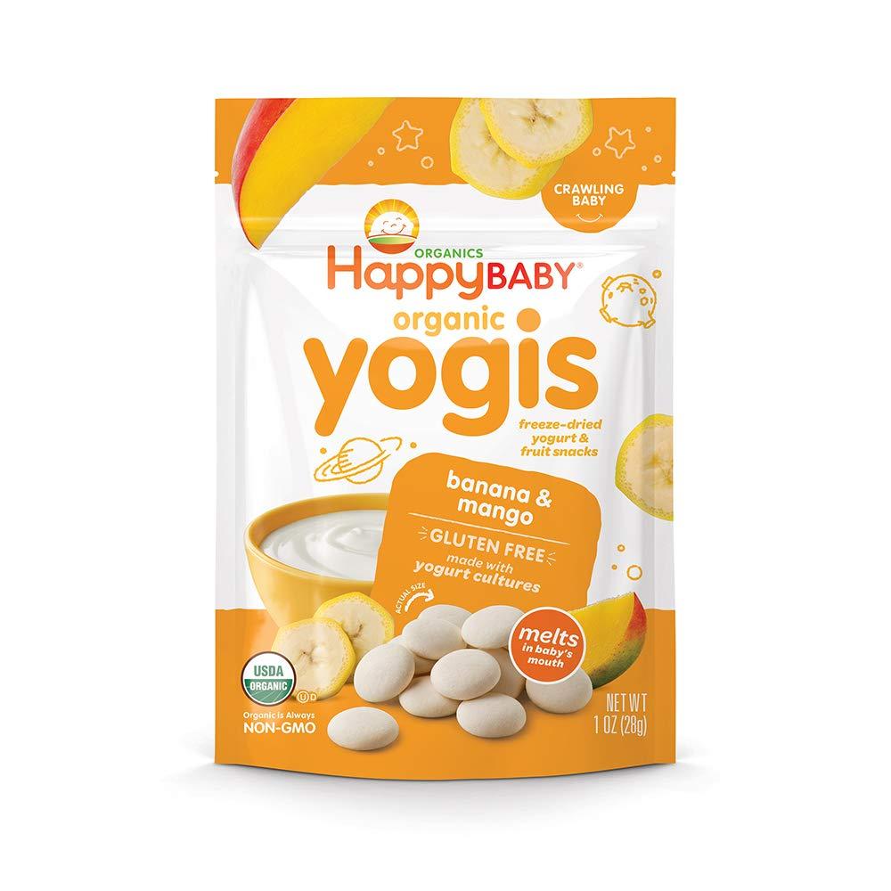 Happy Baby Organic Yogis Freeze-Dried Yogurt & Fruit Snacks Banana Mango, 1 Ounce Bag (Pack of 8) (Packaging May Vary) No Artificial Flavors Gluten Free Non-GMO Kosher