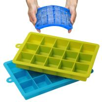 Szxc Silicone Ice Cube Trays with Lids - 2 Pack - 15 Cavities 1 2/5 inch (2 tbsp / 30ml / 1 fl oz) Square Ice Cubes - Baking Molds - BPA free - Easy To Release - for Juice, Baby Food, Chocolate & More