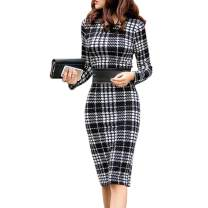 FASHIONMIA Women's Long Sleeve Plus Size Lattice Bodycon Work Business Pencil Dress