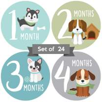 Adorable Puppy Baby Monthly Milestone Stickers. Set of 24 Gender Neutral Dog Month Decals for Boy or Girl. Great Unisex Picture Props for Newborns. First Year Animal Photo Aids for Family Scrapbook.
