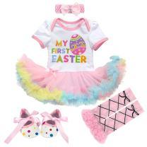 IBTOM CASTLE 3pcs/4pcs Baby Girls 1st Easter Bunny Tutu Dress+Headband+Leggings Shoes Outfits Bodysuit Princess Costume