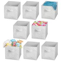 "mDesign Soft Fabric Closet Storage Organizer Cube Bin Box, Handle - Storage for Baby Child/Kids Room, Nursery, Toy Room, Furniture Units, Shelf - 12.75"" High - 8 Pack - Gray/White Polka Dots"
