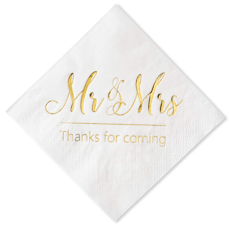 Crisky Wedding Napkins Mr and Mrs Gold Cocktail Beverage Dessert Napkins for Wedding Shower Engagement Party Decorations, Wedding Cake Table Decor Supplies. 100 Pcs, 3-Ply