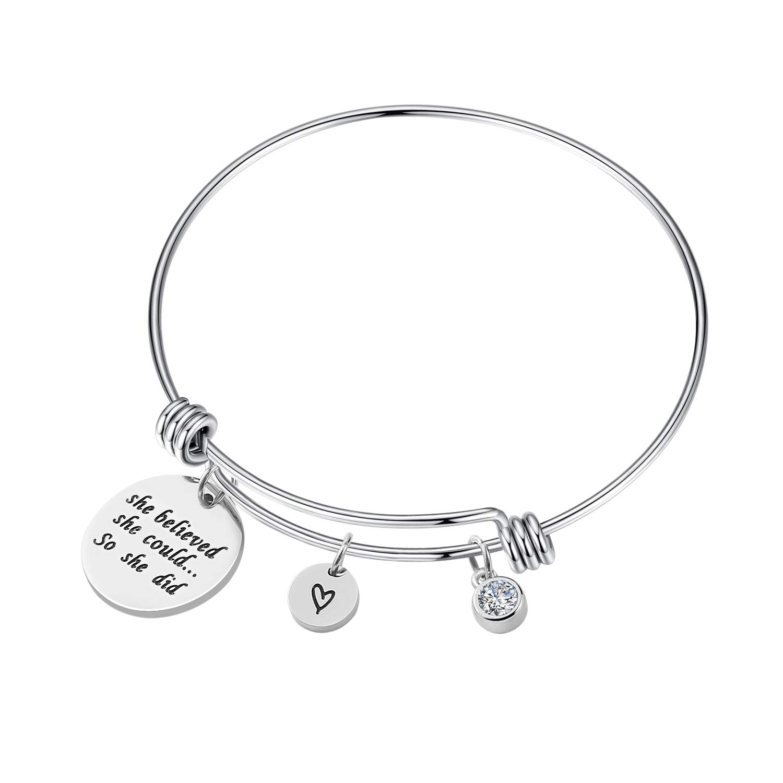 WIGERLON Birthstone Bangle Bracelets :She Believed She Could So She Did