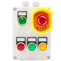 mxuteuk Red Yellow Green with 110V LED Light Waterproof IP65 Momentary Push Switch, 2NC Red Mushroom Emergency Stop Button 2 NO 3 Positions Latching Select Switch, IP67 ABS Box Station MX-BOX-05