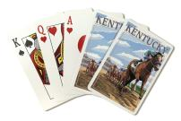 Kentucky - Horse Racing Track Scene (Playing Card Deck - 52 Card Poker Size with Jokers)