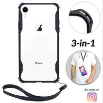 Lifestyle Designs New iPhone Xs MAX Clear Slim Case w/Wrist Strap & Lanyard | Best Rugged TPU Bumper Case | Strong Loop Hole Attachments for Wrist Leash, Tether Holder etc