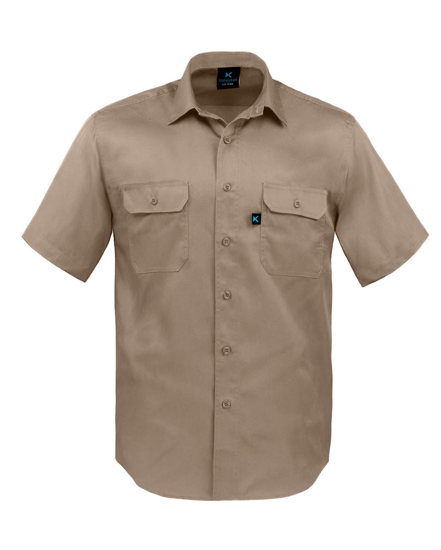 Kolossus Men's Lightweight Cotton Blend Short Sleeve Work Shirt with Pockets