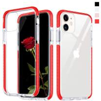 Inbeage Hybrid Designed Transparent iPhone 11 Case Crystal Hard Back with Soft Colorful Bumper Full Protection Cover Clear iPhone 11 Case 6.1 inch (Red)