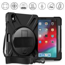 Gzerma iPad Pro 11 Case 2018 with Pencil Holder - Wireless Charging Support - Shoulder Strap, Hand Strap and 360 Degree Rotating Kickstand for 2018 iPad pro 11 Tablet case (A1980/A2013/A1934), Black