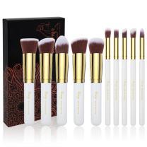 Qivange Makeup Brush Set, 10 Pcs Premium Synthetic Kabuki Makeup Brush Set Foundation Powder Blending Blush Concealer Eye Shadow Face Makeup Brush Kit (White Gold)