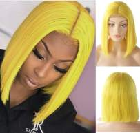 Lace Front Bob Wigs Real Remy Human Hair Bob Wig 13x4 Lace Frontal Middle Part Pre Plucked Bleach Knots Natural Hairline with Baby Hair Glueless 180% Density Thicken for Black Women Yellow 14 Inch