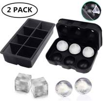 Large Ice Cube Trays Ice Mold for Whiskey, Silicone Sphere Ice Mold & Large Square Ice Trays, Big Ice Cube Tray Ice Ball Maker with Lid Great for Whiskey,Reusable and BPA Free (2 PACK)