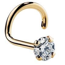 FreshTrends I1 1.5mm 0.015 ct. tw Diamond 14K Yellow Gold Twist Screw Nose Ring 20G