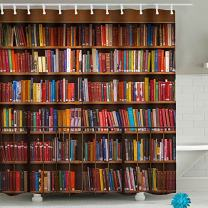 """FAITOVE Library Bookself Shower Curtain Sets Bookcase Decor Fabric, Polyester Waterproof Bathroom Decor Accessories with Hooks 71""""(W) x 71""""(H)"""