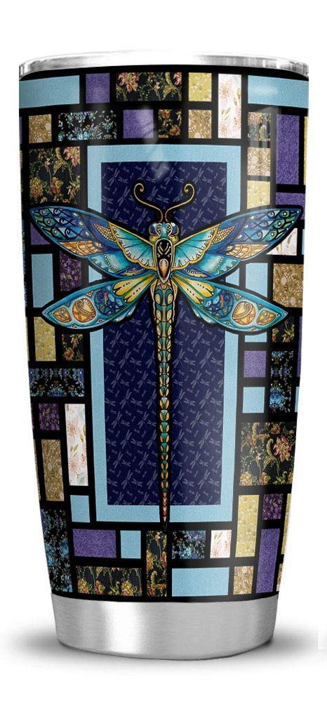 64HYDRO 20oz Dragonfly Mosaic Style Decorative Tumbler Cups with Lid, Double Wall Vacuum Sporty Thermos Insulated Travel Coffee Mug