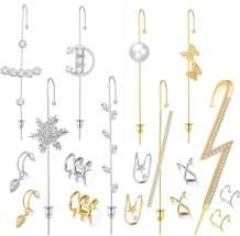 13 Pcs Ear Wrap Crawler Hook Earrings Gold Silver Sparking Cubic Zirconia Earcuffs Gold Siver Climber Piercing Ear Cartilage Hypoallergenic Earrings for Women Girls